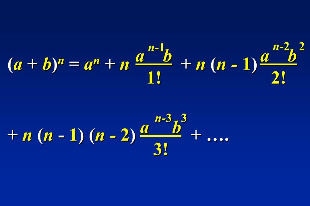 (a + b) n = a n + n + n (n - 1) a b 1! n-1 a b 2! n-2 2 + n (n - 1) (n - 2) + …. a b 3! n-3 3