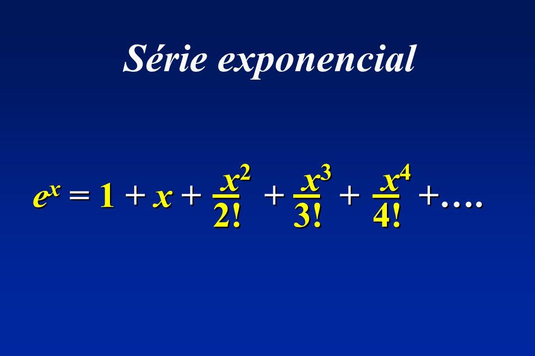 x 2 2! x 2 2! e x = 1 + x + + + + + +…. x 3 3! x 3 3! x 4 4! x 4 4! Série exponencial