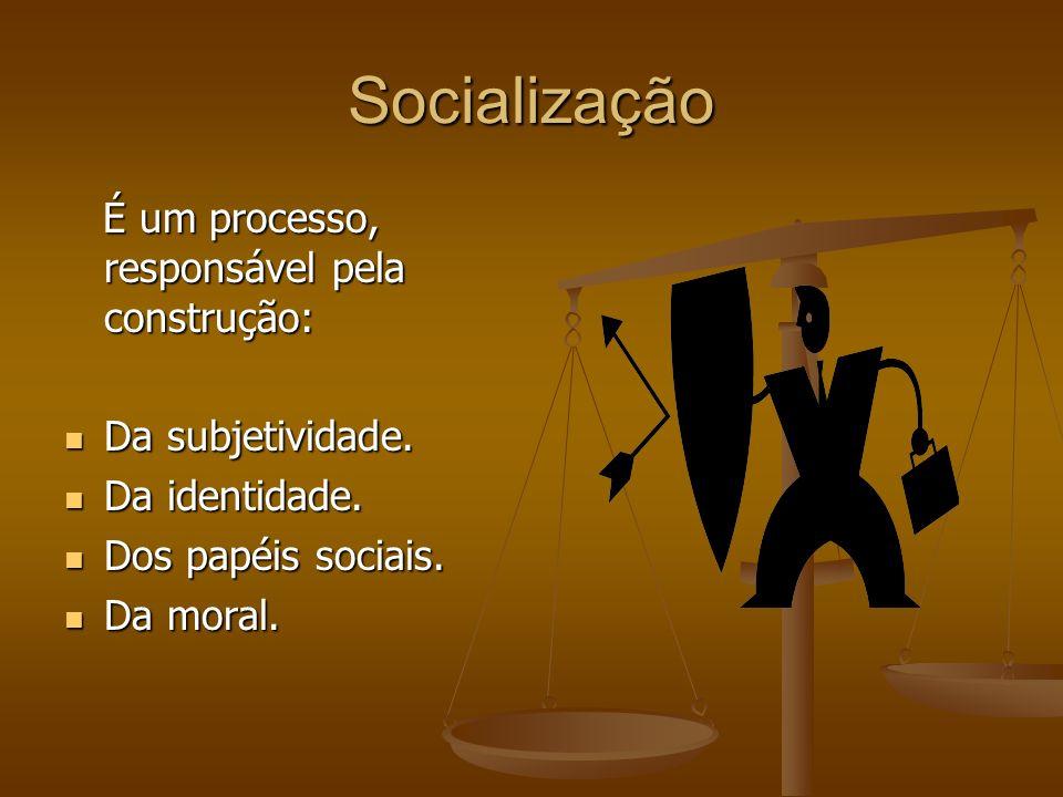Socialização É um processo, responsável pela construção: É um processo, responsável pela construção: Da subjetividade. Da subjetividade. Da identidade