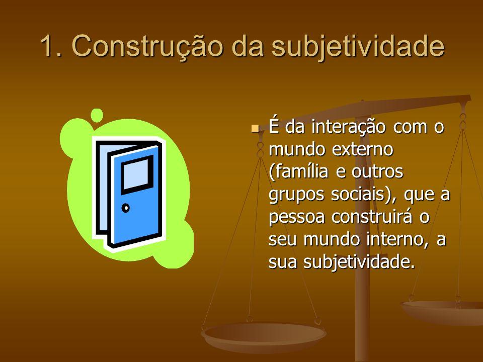 1. Construção da subjetividade É da interação com o mundo externo (família e outros grupos sociais), que a pessoa construirá o seu mundo interno, a su