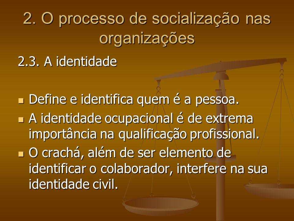 2. O processo de socialização nas organizações 2.3. A identidade Define e identifica quem é a pessoa. Define e identifica quem é a pessoa. A identidad