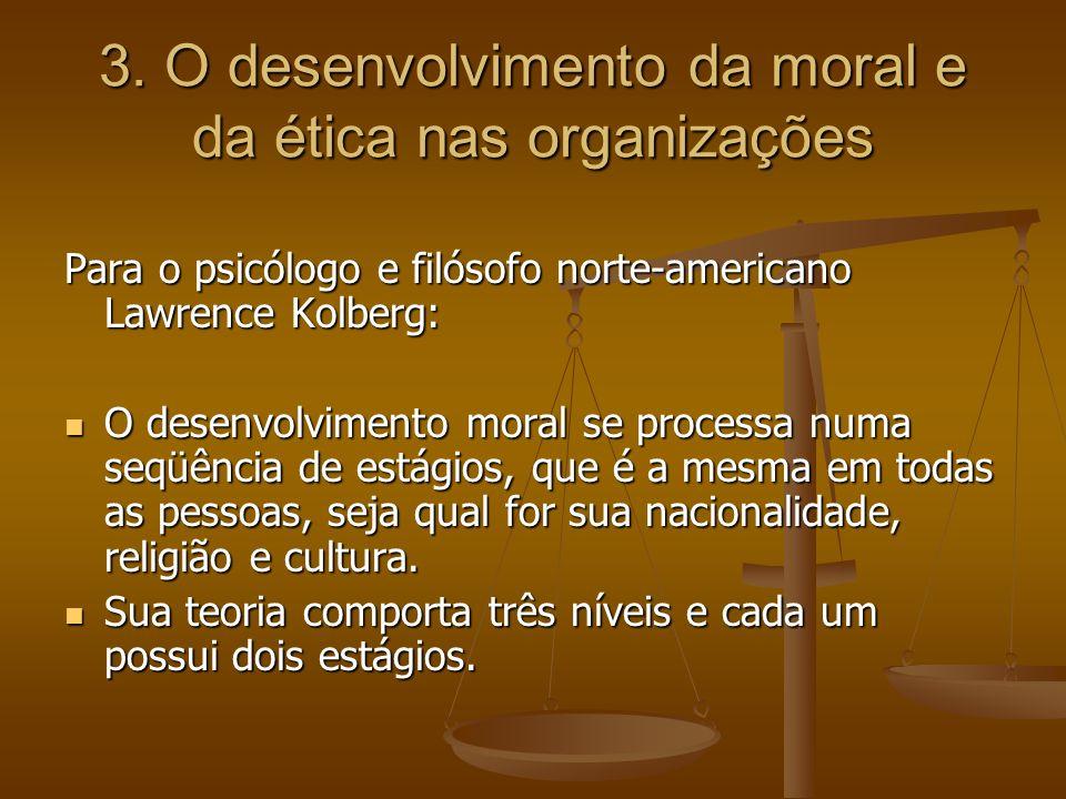 3. O desenvolvimento da moral e da ética nas organizações Para o psicólogo e filósofo norte-americano Lawrence Kolberg: O desenvolvimento moral se pro