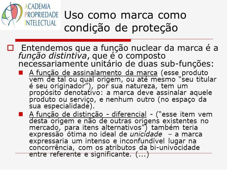 Uso como marca como condição de proteção Entendemos que a função nuclear da marca é a função distintiva, que é o composto necessariamente unitário de