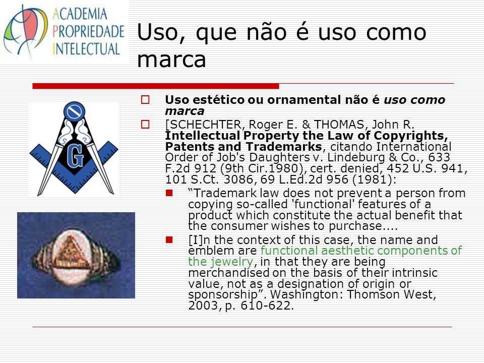 Uso, que não é uso como marca Uso estético ou ornamental não é uso como marca [SCHECHTER, Roger E. & THOMAS, John R. Intellectual Property the Law of