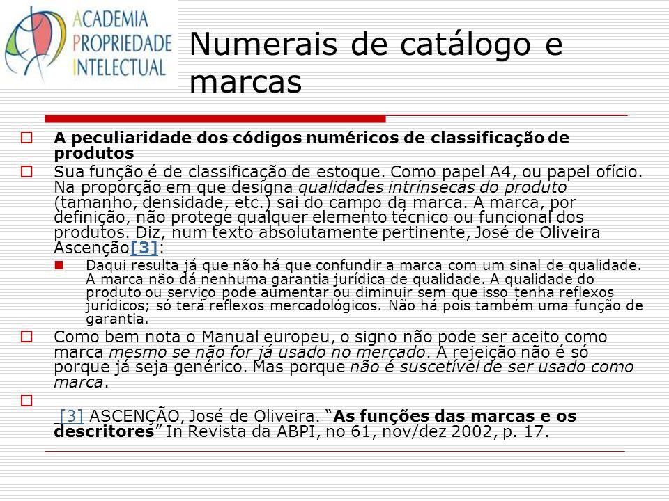 Numerais de catálogo e marcas A peculiaridade dos códigos numéricos de classificação de produtos Sua função é de classificação de estoque. Como papel
