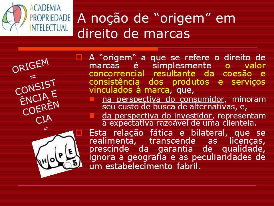 A noção de origem em direito de marcas A origem a que se refere o direito de marcas é simplesmente o valor concorrencial resultante da coesão e consis