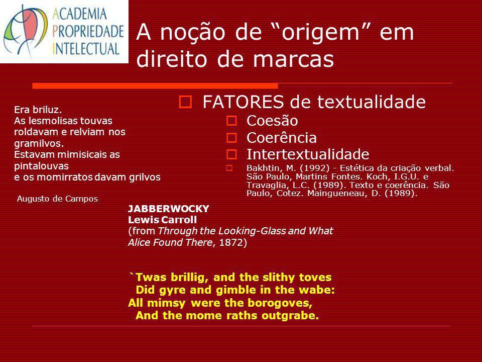 A noção de origem em direito de marcas FATORES de textualidade Coesão Coerência Intertextualidade Bakhtin, M. (1992) - Estética da criação verbal. São