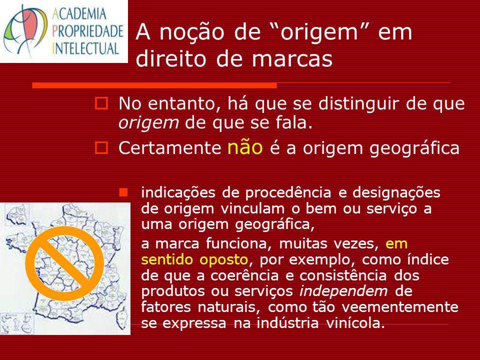A noção de origem em direito de marcas No entanto, há que se distinguir de que origem de que se fala. Certamente não é a origem geográfica indicações