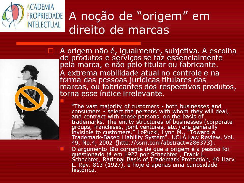 A noção de origem em direito de marcas A origem não é, igualmente, subjetiva. A escolha de produtos e serviços se faz essencialmente pela marca, e não