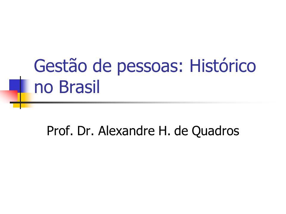 Gestão de pessoas: Histórico no Brasil Prof. Dr. Alexandre H. de Quadros