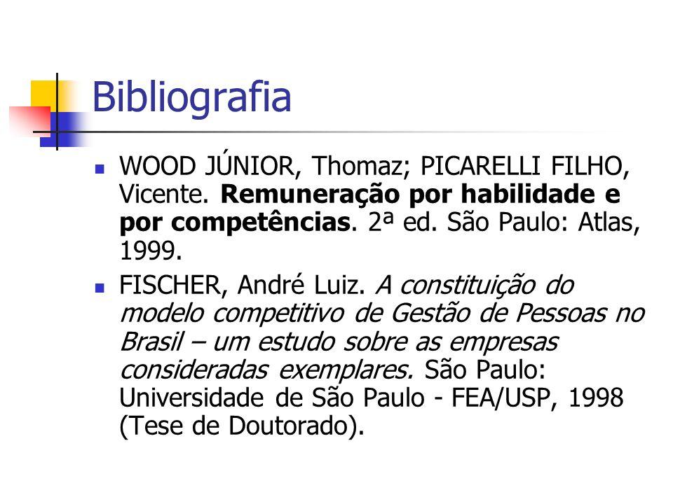 Bibliografia WOOD JÚNIOR, Thomaz; PICARELLI FILHO, Vicente. Remuneração por habilidade e por competências. 2ª ed. São Paulo: Atlas, 1999. FISCHER, And