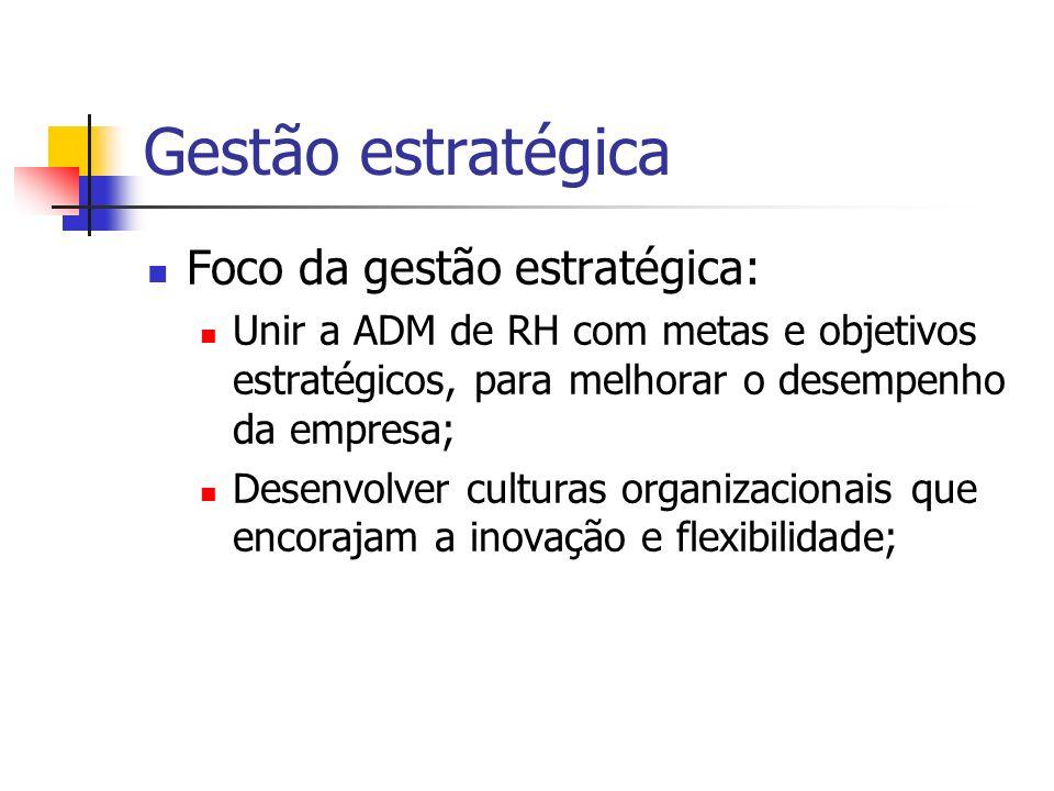 Gestão estratégica Foco da gestão estratégica: Unir a ADM de RH com metas e objetivos estratégicos, para melhorar o desempenho da empresa; Desenvolver