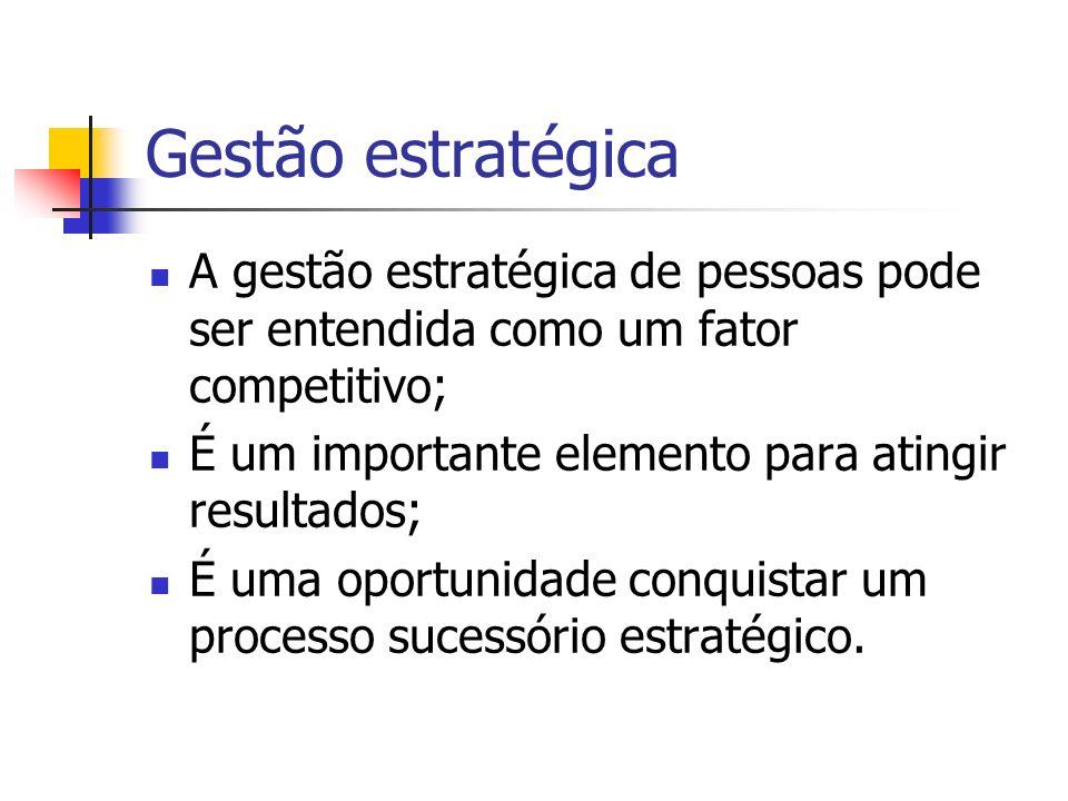 Gestão estratégica A gestão estratégica de pessoas pode ser entendida como um fator competitivo; É um importante elemento para atingir resultados; É u