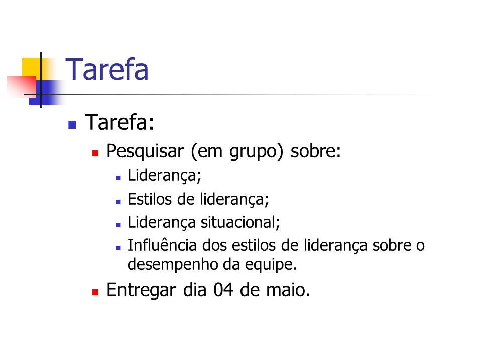 Tarefa Tarefa: Pesquisar (em grupo) sobre: Liderança; Estilos de liderança; Liderança situacional; Influência dos estilos de liderança sobre o desempe