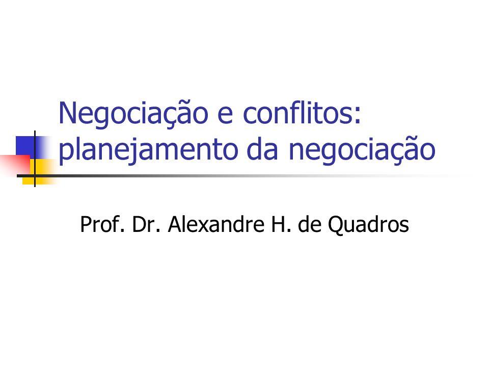 Negociação e conflitos: planejamento da negociação Prof. Dr. Alexandre H. de Quadros
