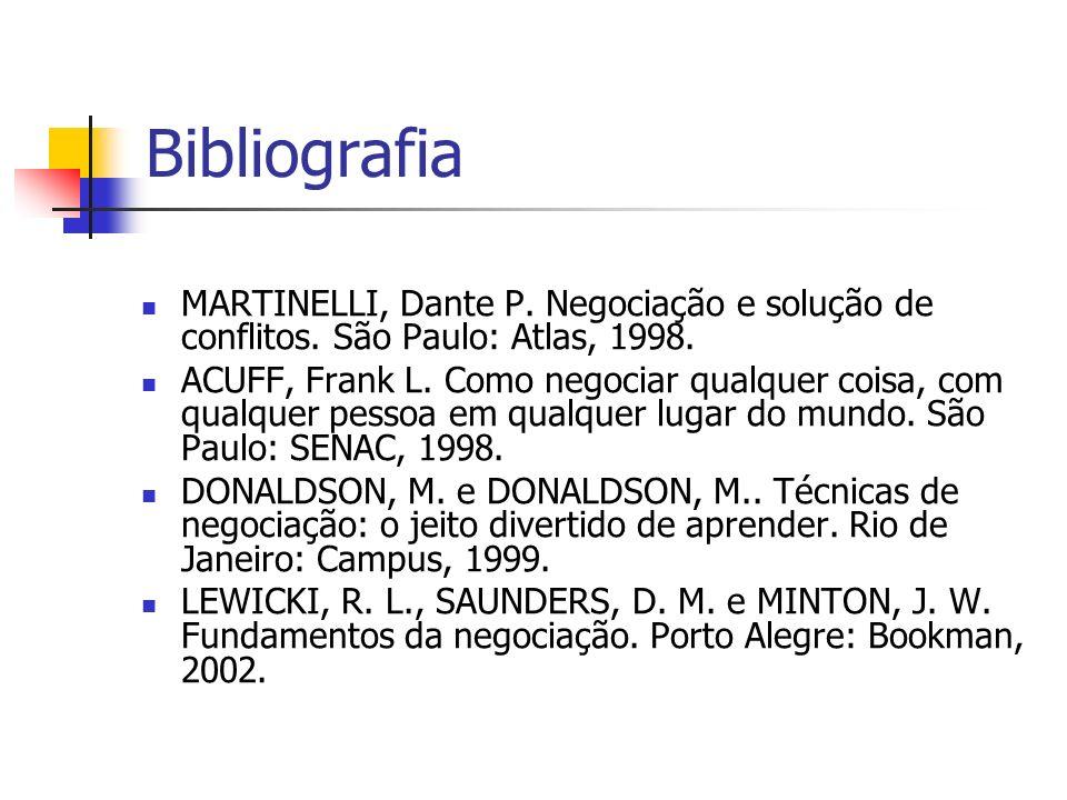 Bibliografia MARTINELLI, Dante P. Negociação e solução de conflitos. São Paulo: Atlas, 1998. ACUFF, Frank L. Como negociar qualquer coisa, com qualque