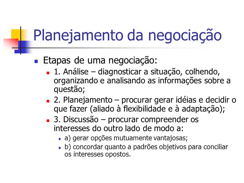 Planejamento da negociação 1.Identificar e listar todas as questões que podem surgir durante a negociação, tanto da sua parte como da do outro lado; 2.