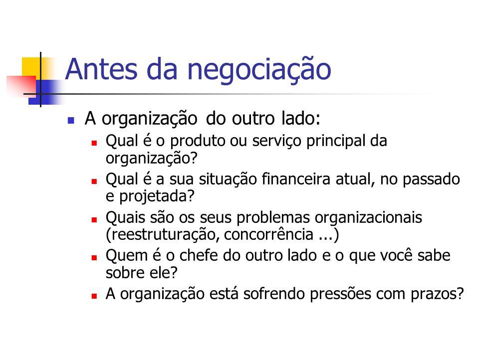 Antes da negociação A organização do outro lado: Qual é o produto ou serviço principal da organização? Qual é a sua situação financeira atual, no pass