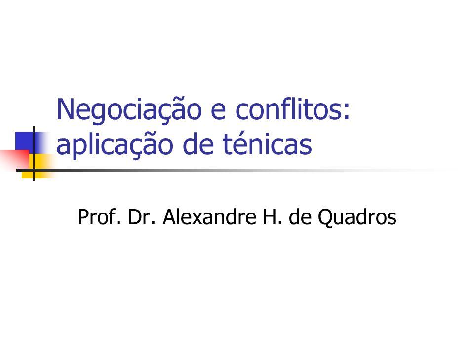 Negociação e conflitos: aplicação de ténicas Prof. Dr. Alexandre H. de Quadros