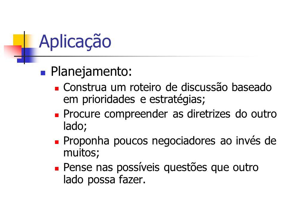 Aplicação Planejamento: Construa um roteiro de discussão baseado em prioridades e estratégias; Procure compreender as diretrizes do outro lado; Propon