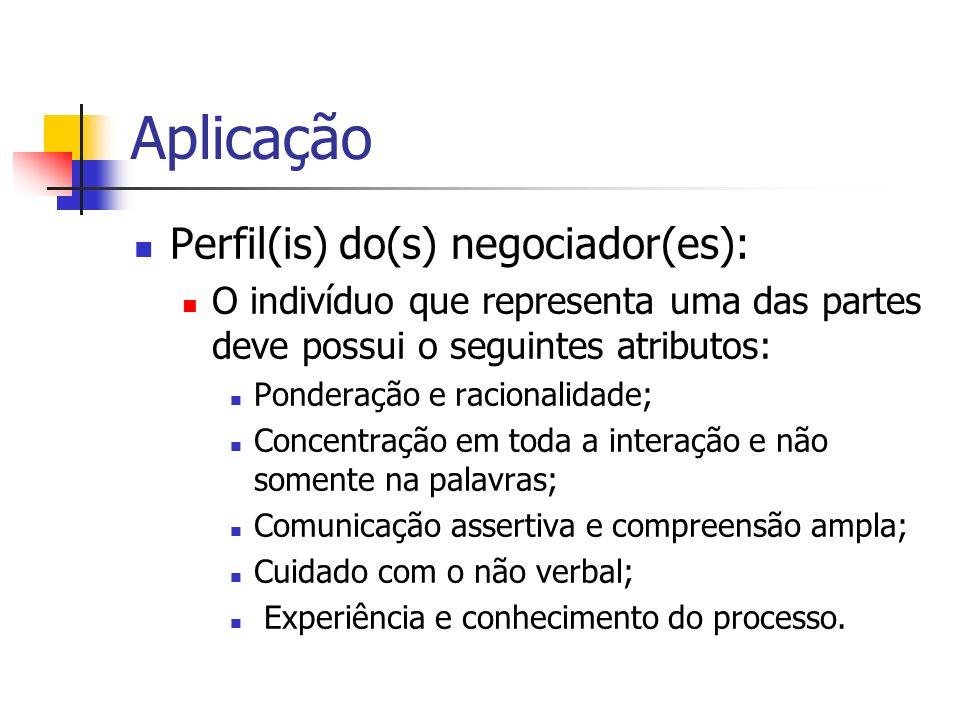 Aplicação Perfil(is) do(s) negociador(es): O indivíduo que representa uma das partes deve possui o seguintes atributos: Ponderação e racionalidade; Co