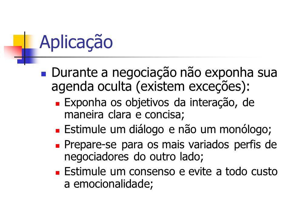 Aplicação Durante a negociação não exponha sua agenda oculta (existem exceções): Exponha os objetivos da interação, de maneira clara e concisa; Estimu