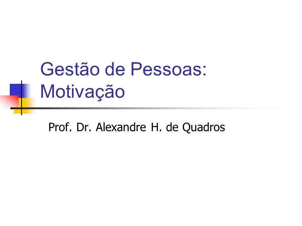 Gestão de Pessoas: Motivação Prof. Dr. Alexandre H. de Quadros