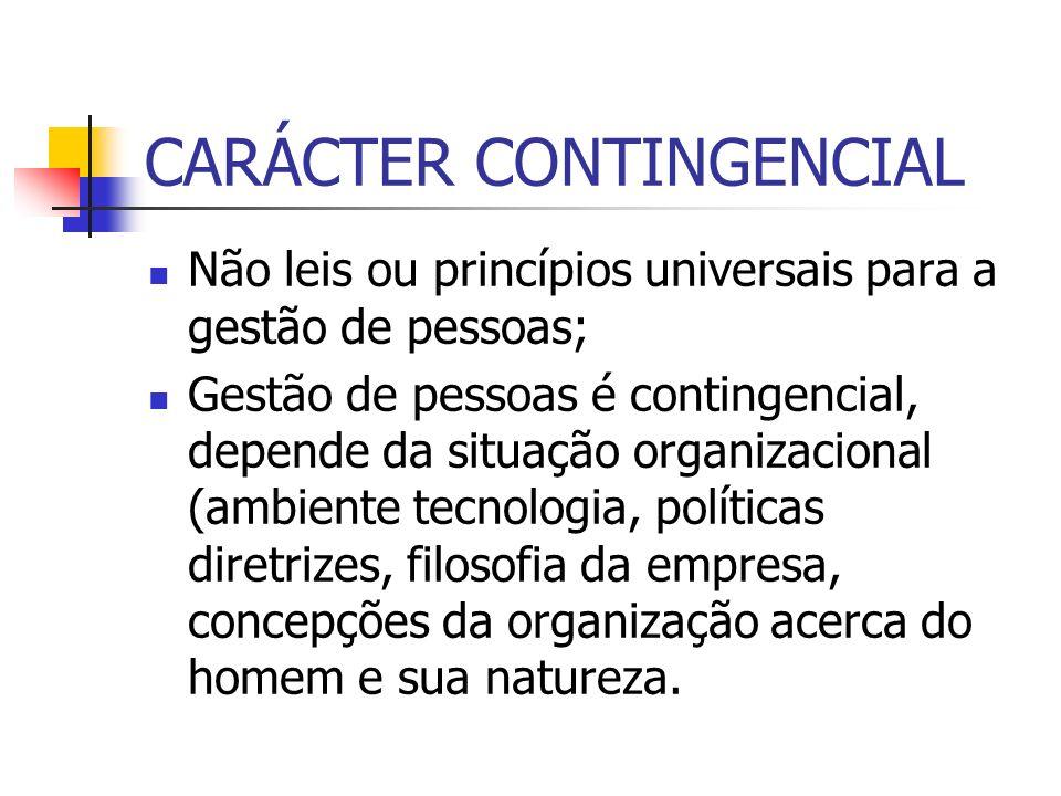 CARÁCTER CONTINGENCIAL Não leis ou princípios universais para a gestão de pessoas; Gestão de pessoas é contingencial, depende da situação organizacion