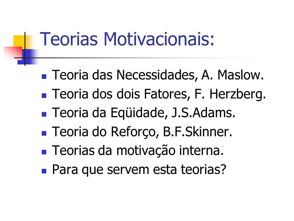 Teorias Motivacionais: Teoria das Necessidades, A. Maslow. Teoria dos dois Fatores, F. Herzberg. Teoria da Eqüidade, J.S.Adams. Teoria do Reforço, B.F