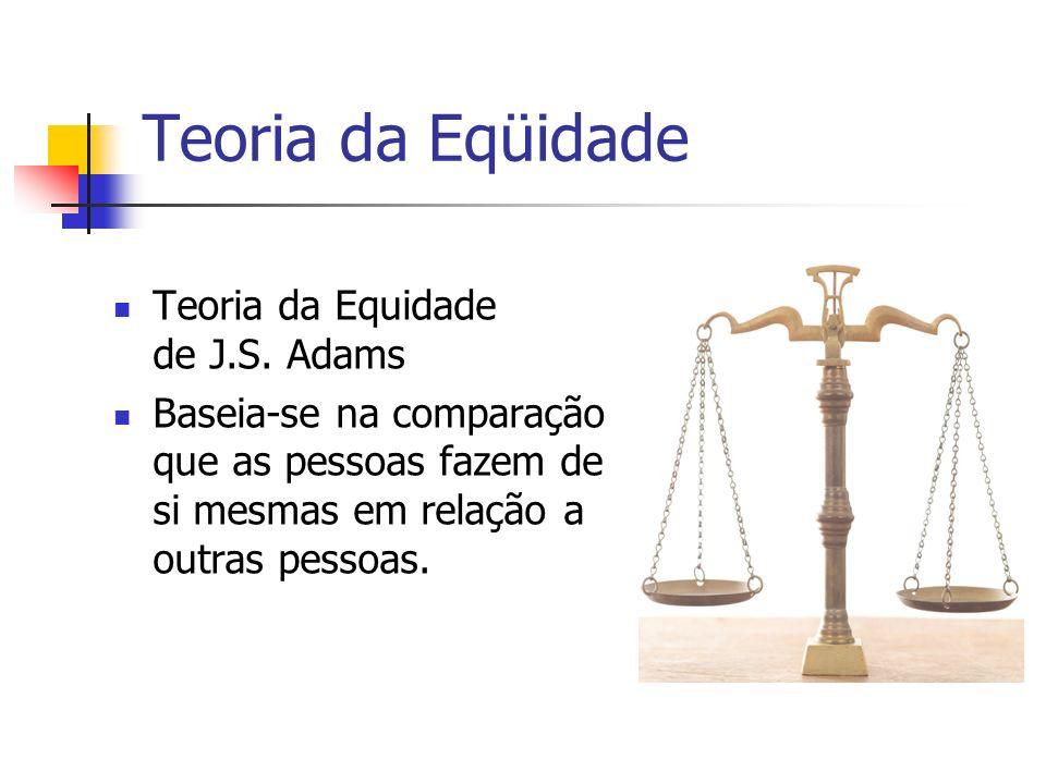 Teoria da Eqüidade Teoria da Equidade de J.S. Adams Baseia-se na comparação que as pessoas fazem de si mesmas em relação a outras pessoas.