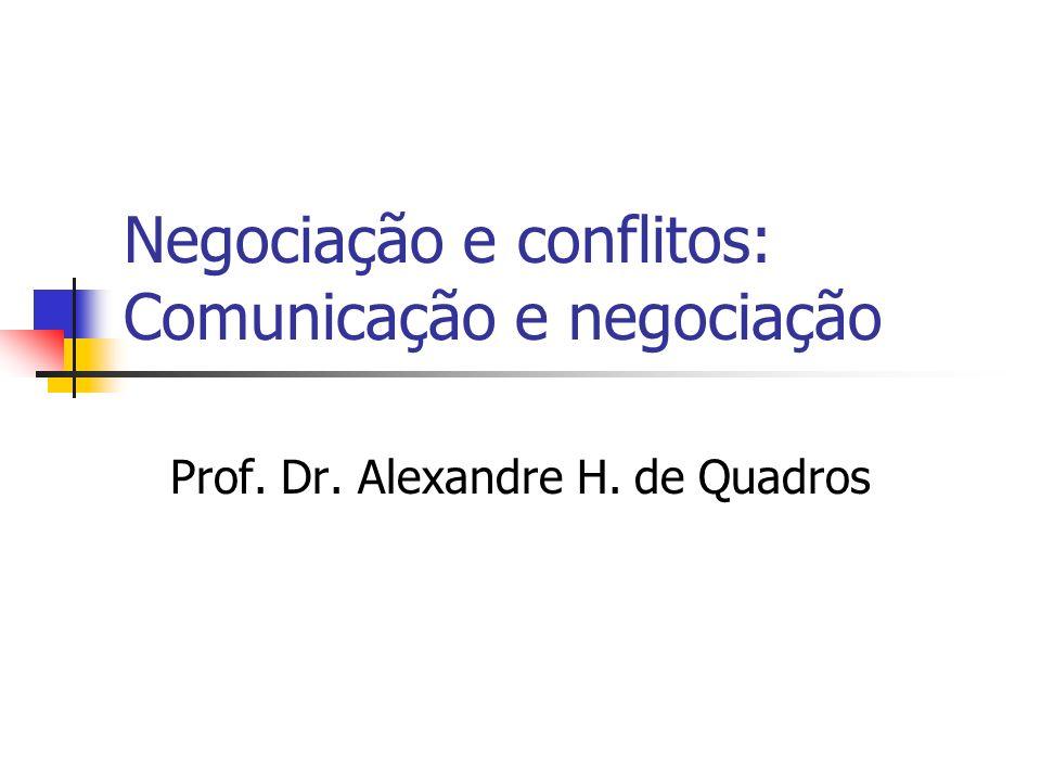 Negociação e conflitos: Comunicação e negociação Prof. Dr. Alexandre H. de Quadros