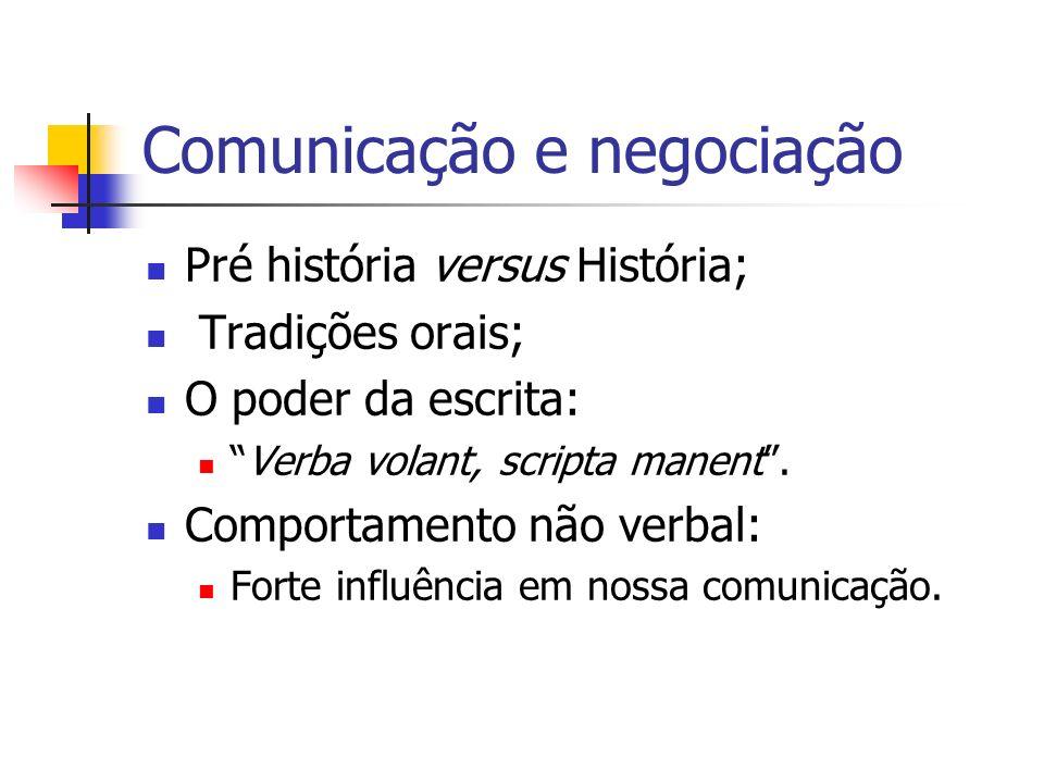 Comunicação e negociação Pré história versus História; Tradições orais; O poder da escrita: Verba volant, scripta manent. Comportamento não verbal: Fo