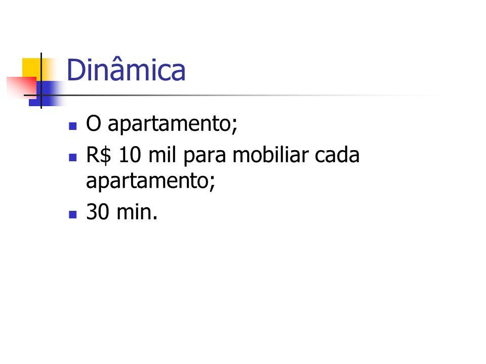 Dinâmica O apartamento; R$ 10 mil para mobiliar cada apartamento; 30 min.