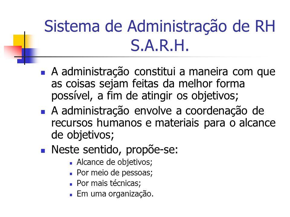 Sistema de Administração de RH S.A.R.H. A administração constitui a maneira com que as coisas sejam feitas da melhor forma possível, a fim de atingir