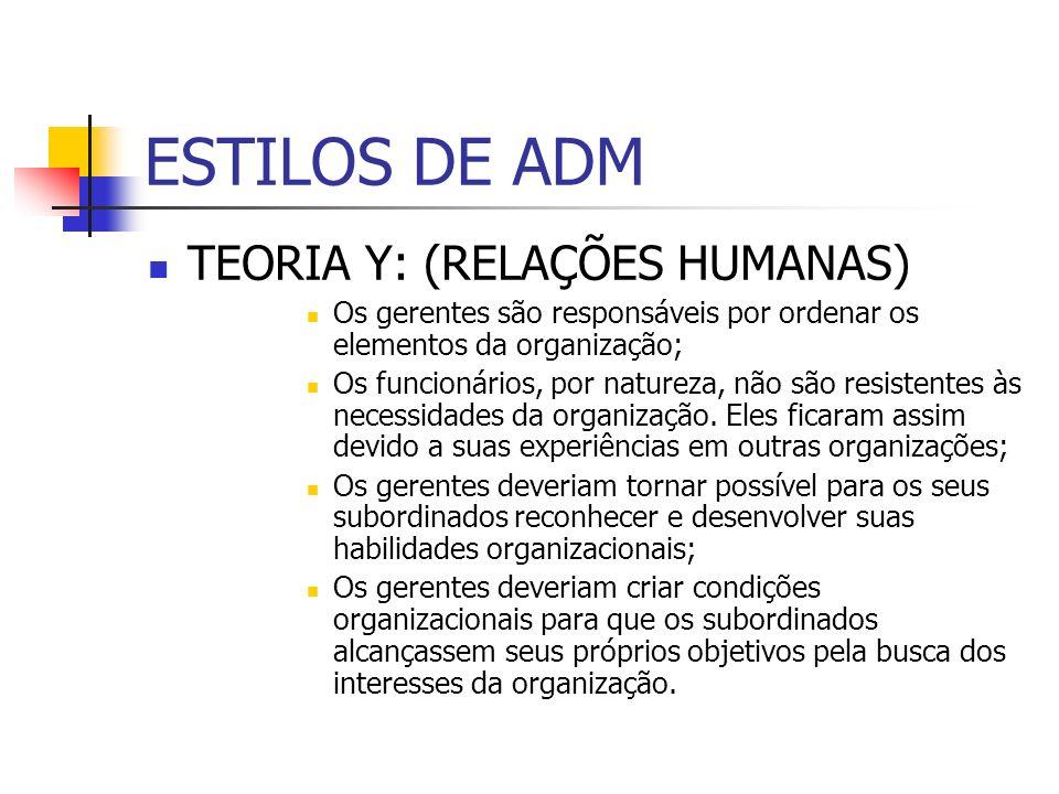 ESTILOS DE ADM TEORIA Y: (RELAÇÕES HUMANAS) Os gerentes são responsáveis por ordenar os elementos da organização; Os funcionários, por natureza, não s