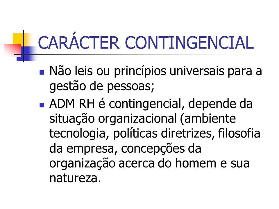 CARÁCTER CONTINGENCIAL Não leis ou princípios universais para a gestão de pessoas; ADM RH é contingencial, depende da situação organizacional (ambient