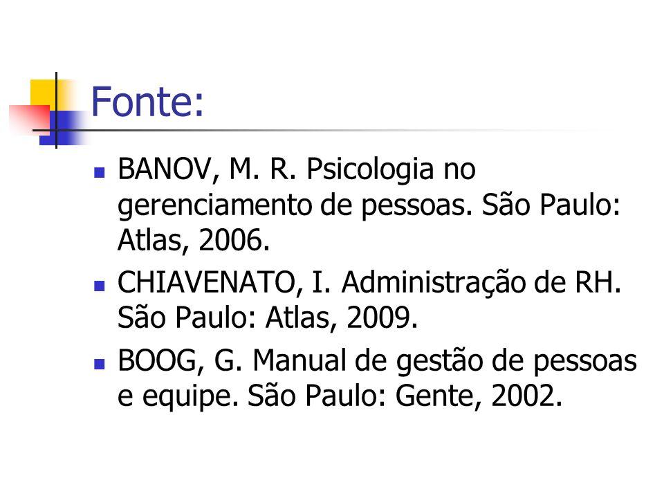 Fonte: BANOV, M. R. Psicologia no gerenciamento de pessoas. São Paulo: Atlas, 2006. CHIAVENATO, I. Administração de RH. São Paulo: Atlas, 2009. BOOG,