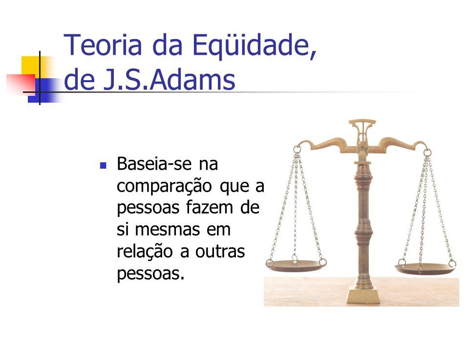 Teoria da Eqüidade, de J.S.Adams Baseia-se na comparação que as pessoas fazem de si mesmas em relação a outras pessoas.