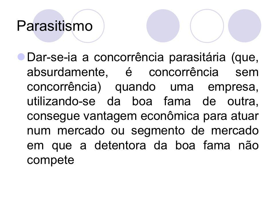 Parasitismo Dar-se-ia a concorrência parasitária (que, absurdamente, é concorrência sem concorrência) quando uma empresa, utilizando-se da boa fama de