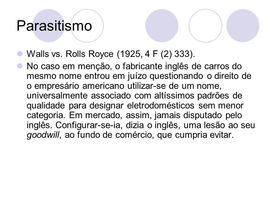 Parasitismo Walls vs. Rolls Royce (1925, 4 F (2) 333). No caso em menção, o fabricante inglês de carros do mesmo nome entrou em juízo questionando o d