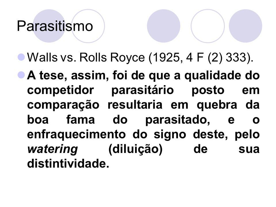 Parasitismo Walls vs. Rolls Royce (1925, 4 F (2) 333). A tese, assim, foi de que a qualidade do competidor parasitário posto em comparação resultaria
