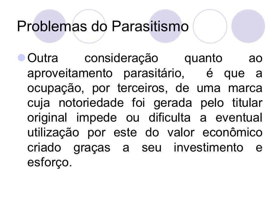 Problemas do Parasitismo Outra consideração quanto ao aproveitamento parasitário, é que a ocupação, por terceiros, de uma marca cuja notoriedade foi g