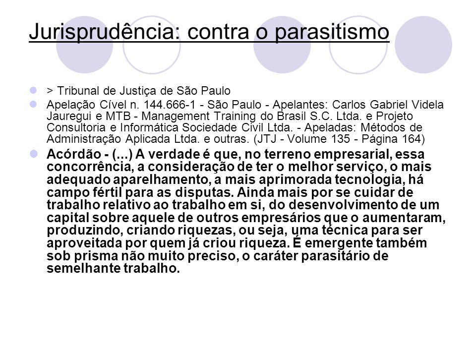 Jurisprudência: contra o parasitismo > Tribunal de Justiça de São Paulo Apelação Cível n. 144.666-1 - São Paulo - Apelantes: Carlos Gabriel Videla Jau