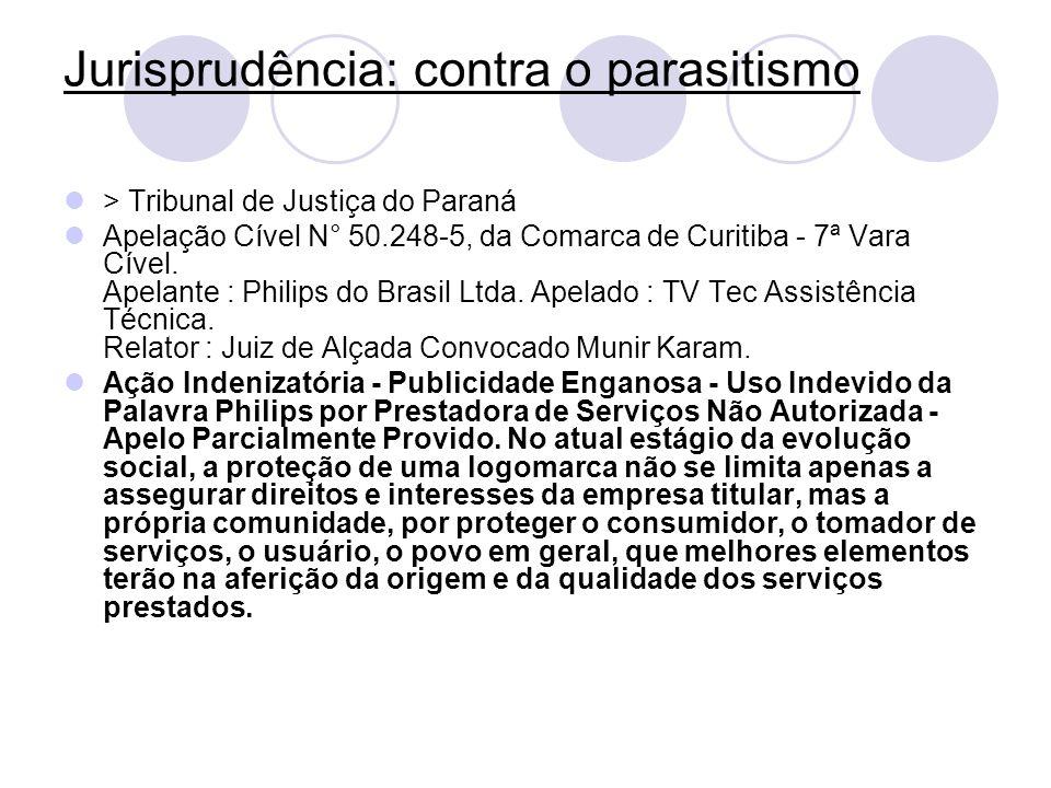 Jurisprudência: contra o parasitismo > Tribunal de Justiça do Paraná Apelação Cível N° 50.248-5, da Comarca de Curitiba - 7ª Vara Cível. Apelante : Ph