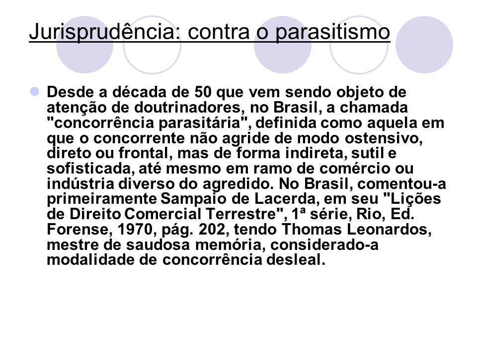 Jurisprudência: contra o parasitismo Desde a década de 50 que vem sendo objeto de atenção de doutrinadores, no Brasil, a chamada
