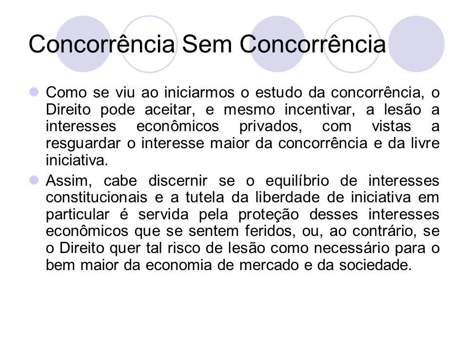 Concorrência Sem Concorrência Como se viu ao iniciarmos o estudo da concorrência, o Direito pode aceitar, e mesmo incentivar, a lesão a interesses eco
