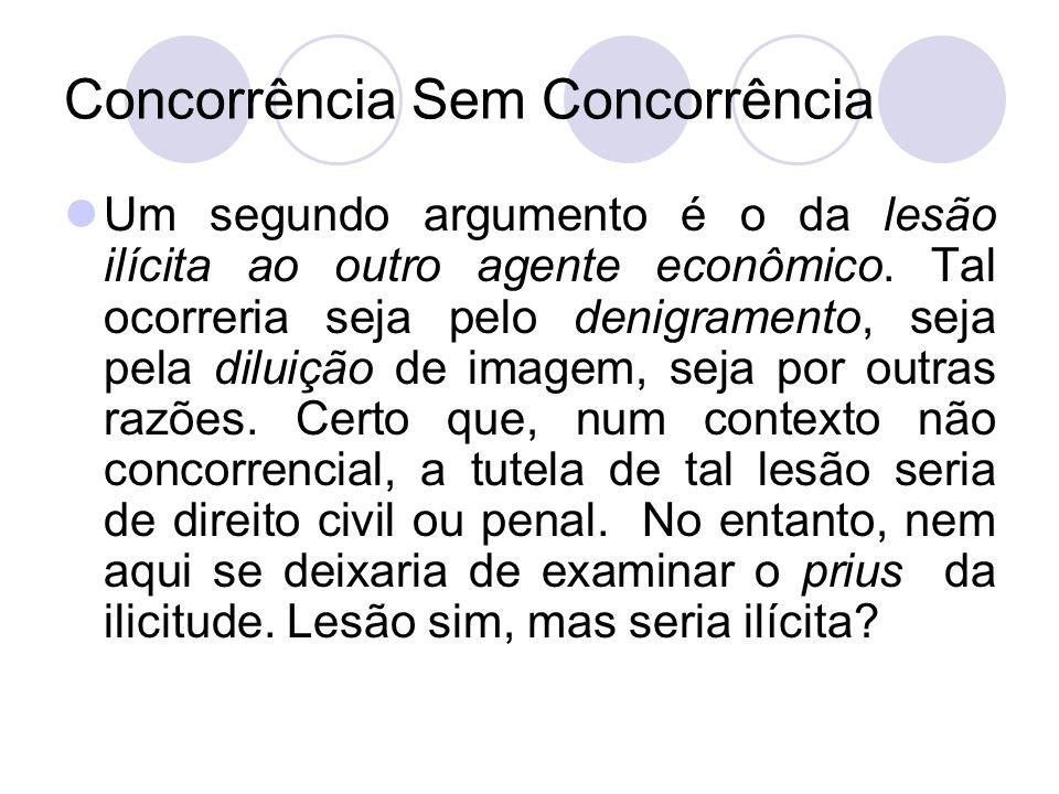 Concorrência Sem Concorrência Um segundo argumento é o da lesão ilícita ao outro agente econômico. Tal ocorreria seja pelo denigramento, seja pela dil