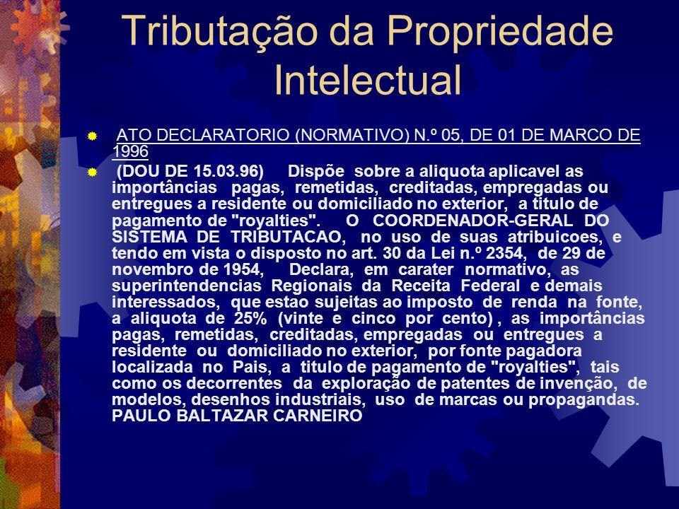 Tributação da Propriedade Intelectual Regime de Fontes: Beneficiário residente, domiciliado ou com sede no exterior II Art. 682. Estão sujeitos ao imp