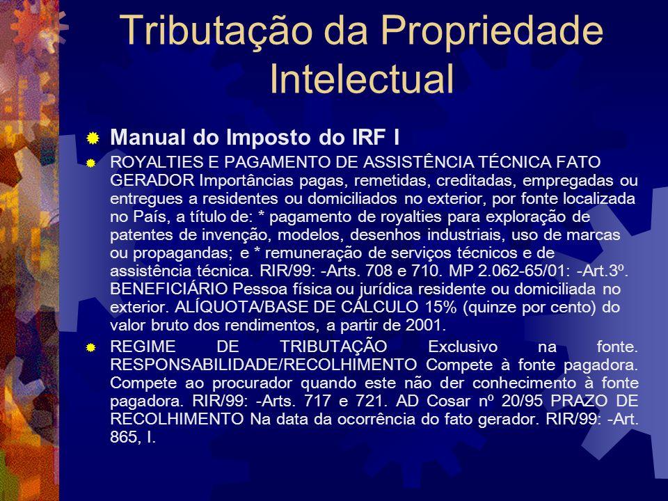 Tributação da Propriedade Intelectual Art. 708. Estão sujeitos à incidência do imposto na fonte, à alíquota de quinze por cento, os rendimentos de ser