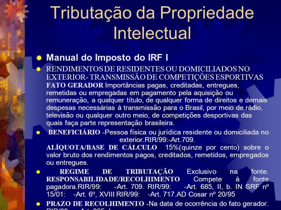 Tributação da Propriedade Intelectual Manual do Imposto do IRF I ROYALTIES E PAGAMENTO DE ASSISTÊNCIA TÉCNICA FATO GERADOR Importâncias pagas, remetid